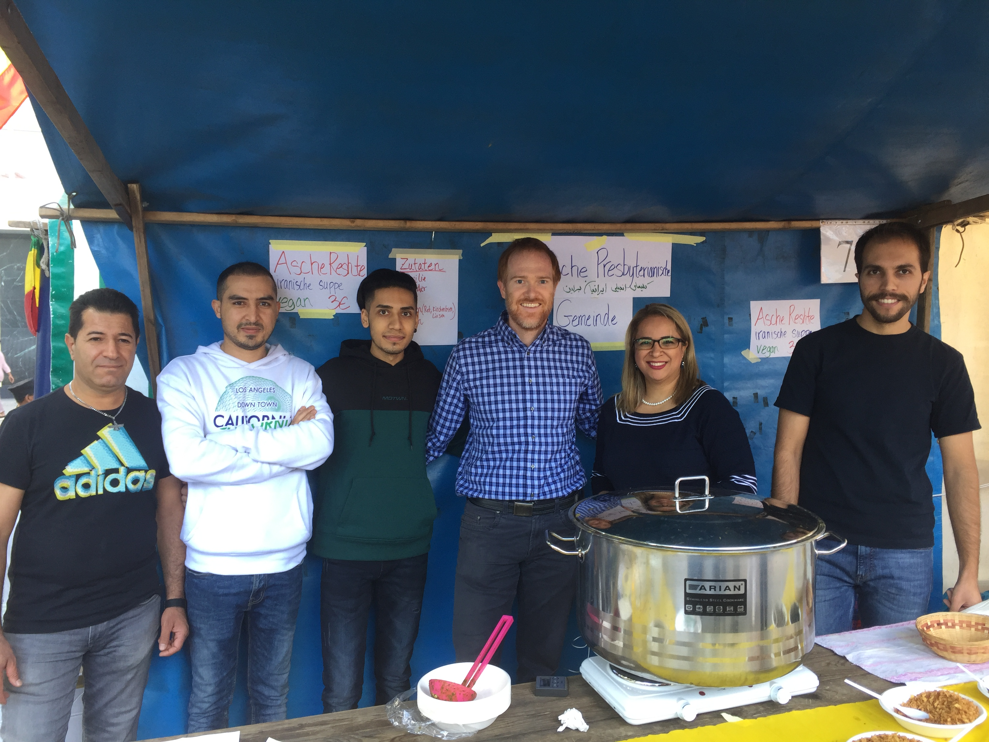Volunteers at the Iranian Presbyterian Church food booth at the Fest der Kirchen.
