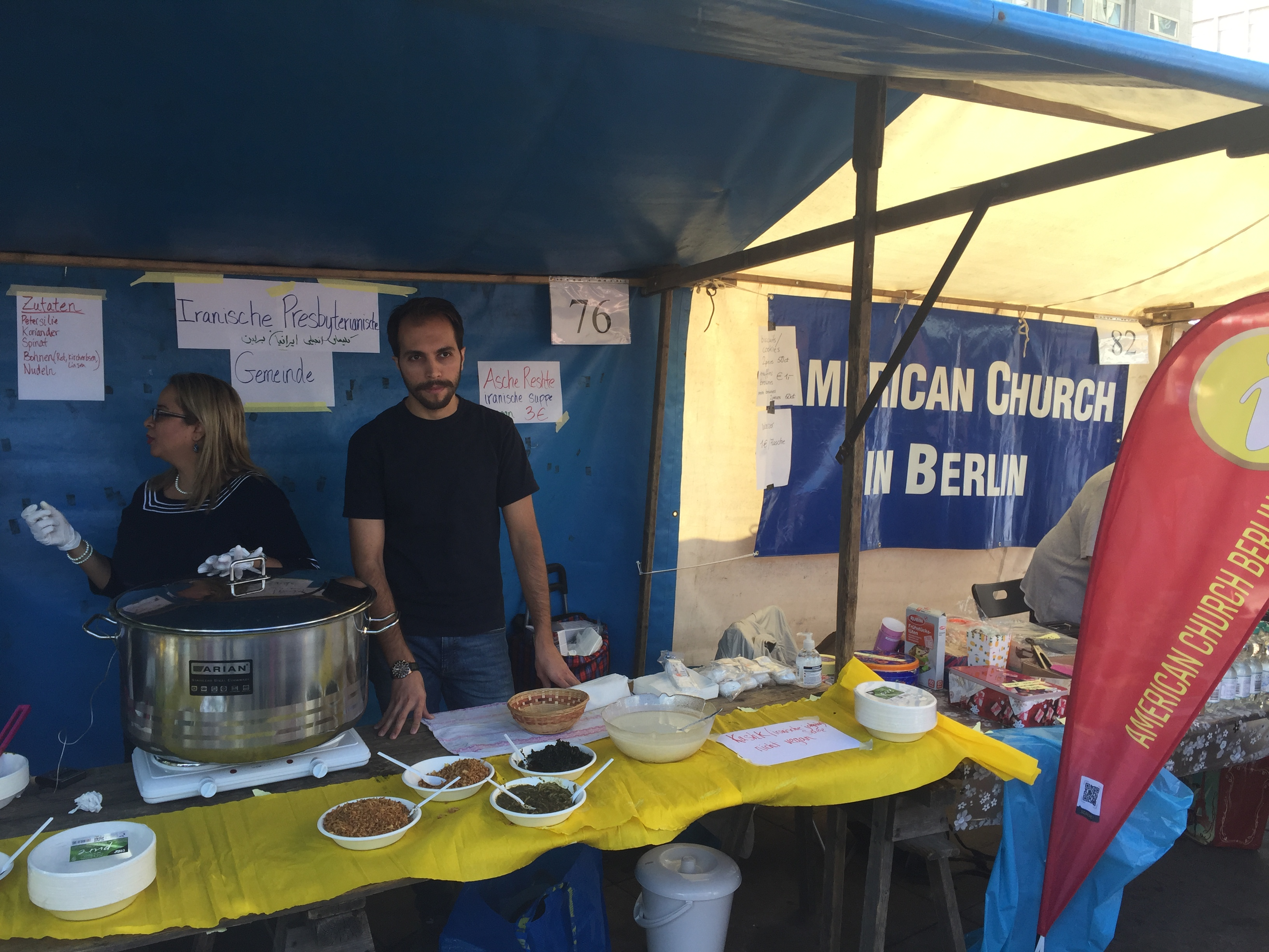 The American Church and the Iranian Presbyterian Church sharing a stand at the Fest der Kirchen.