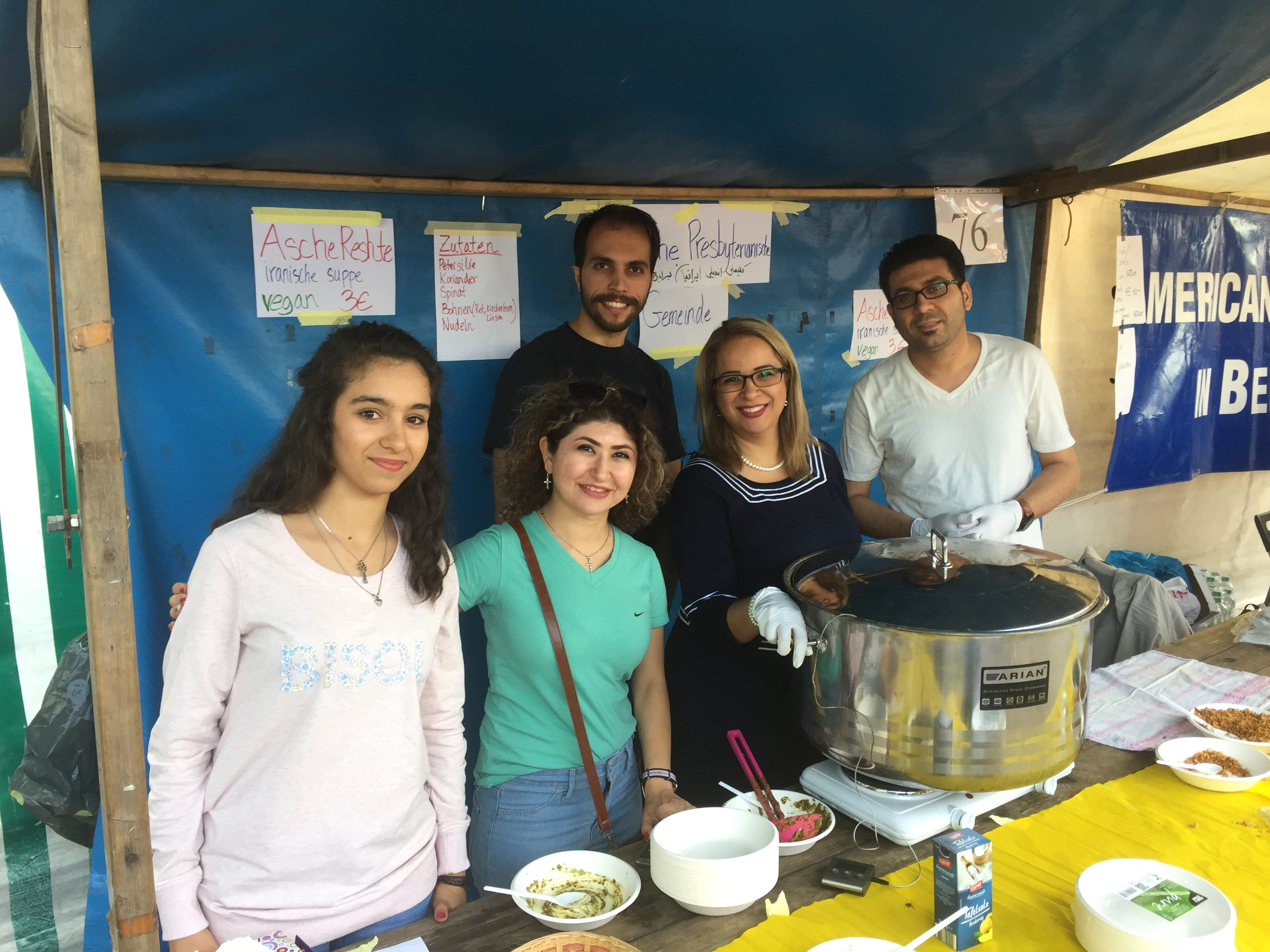 More volunteers at the Iranian Presbyterian Church food booth at the Fest der Kirchen.