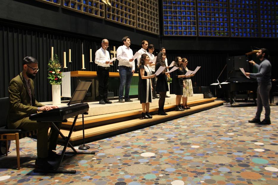 Choir performing for the international choir concert
