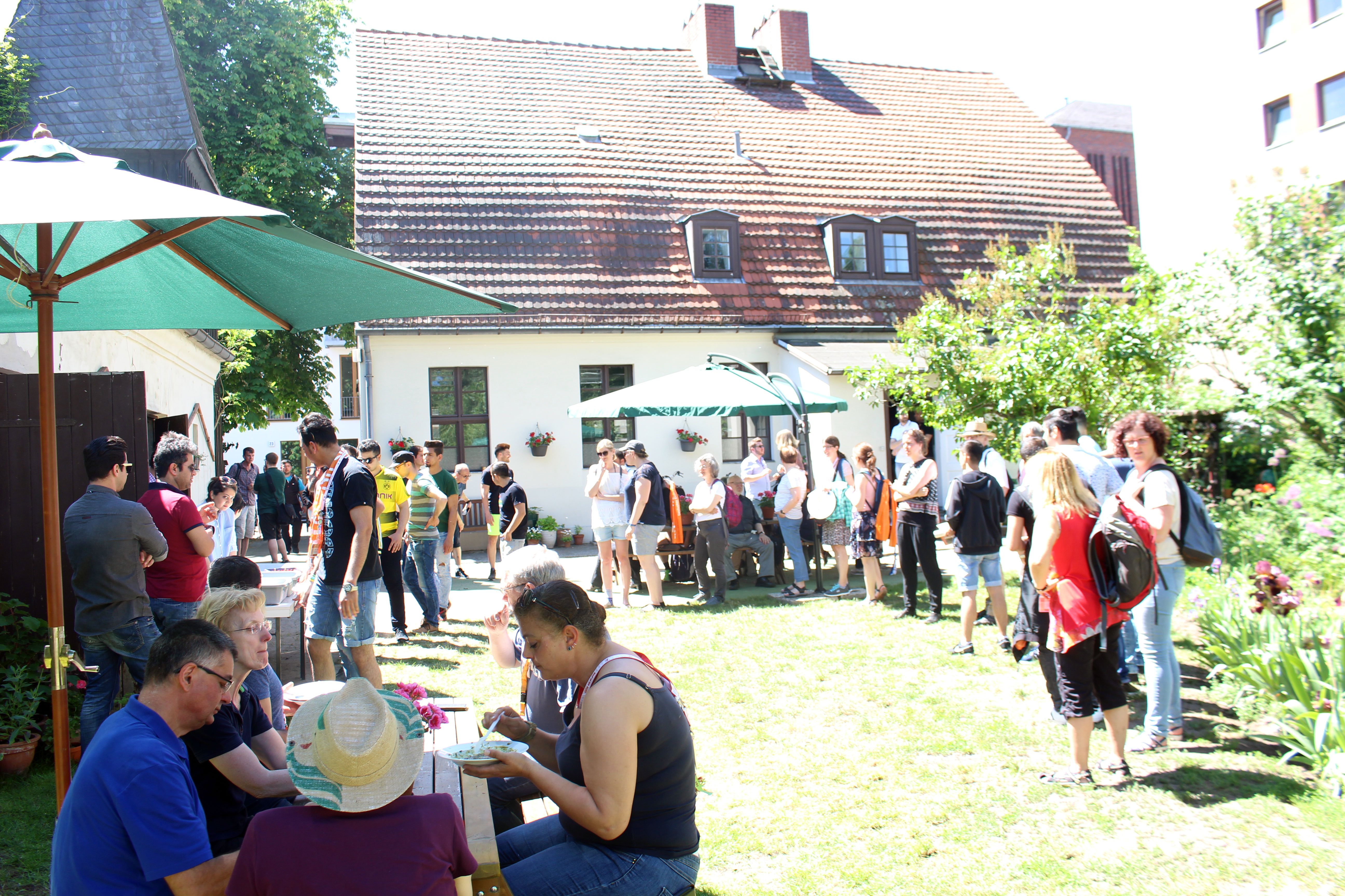 Kirchentag program and lunch in the church garden