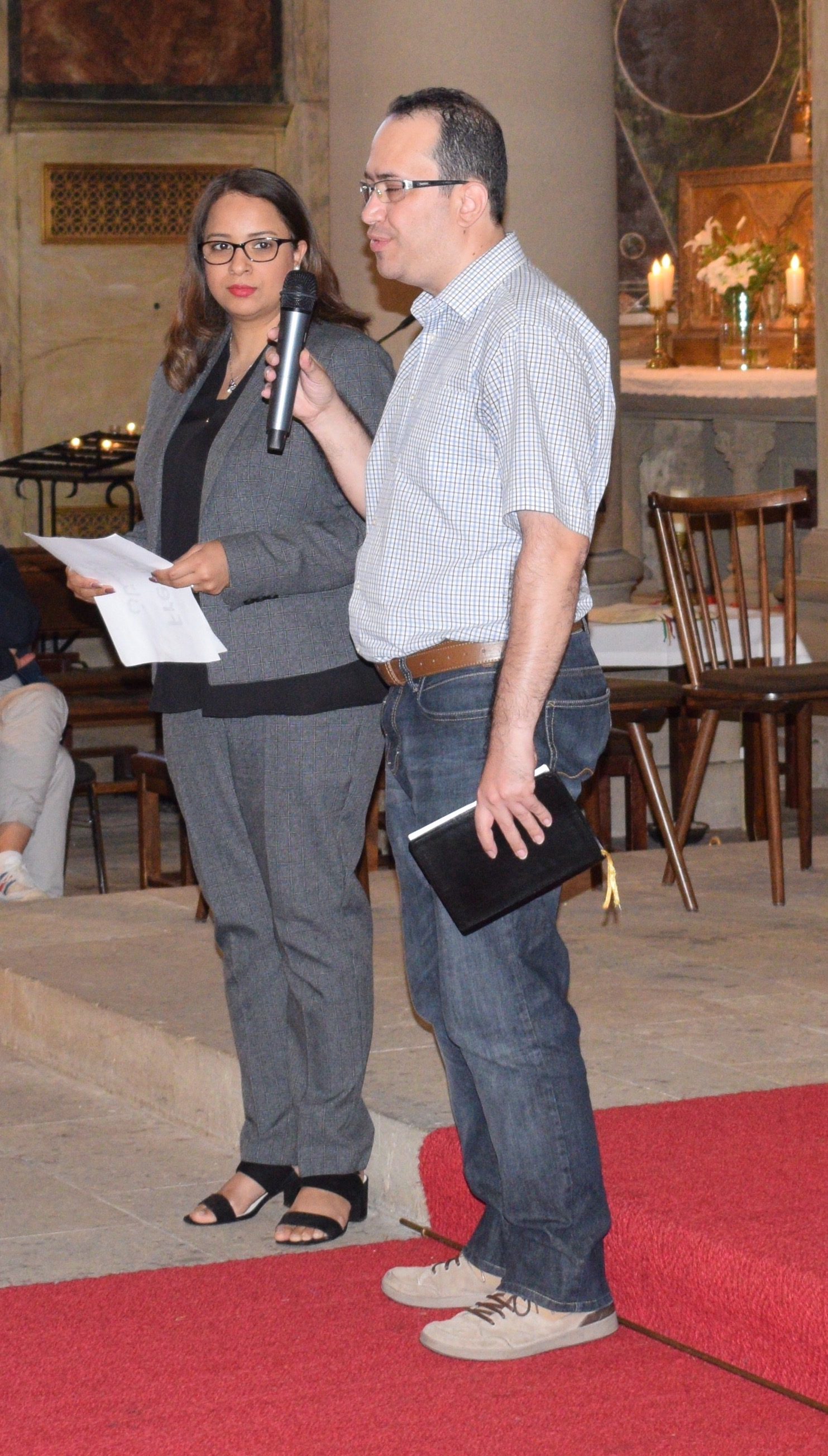 Vahid and Parvaneh: Two of the summer leadership team leading a prayer service for Germany's Kirchentag 2017 (see last letter).