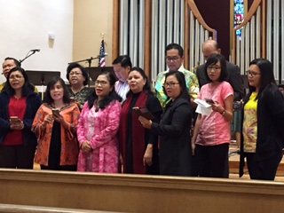 The delegation shares their talented singing voices during worship in San Francisco