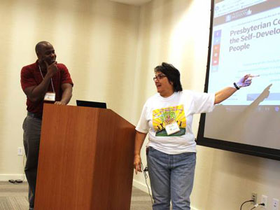 SDOP Coordinator Alonzo Johnson and National Committee Chair Rebecca Reyes lead discussion during the last day of meetings in Miami. (Photo by Rick Jones)
