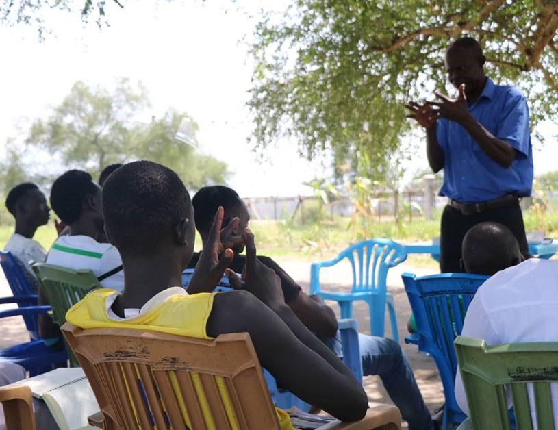 Training primary school teachers in South Sudan.