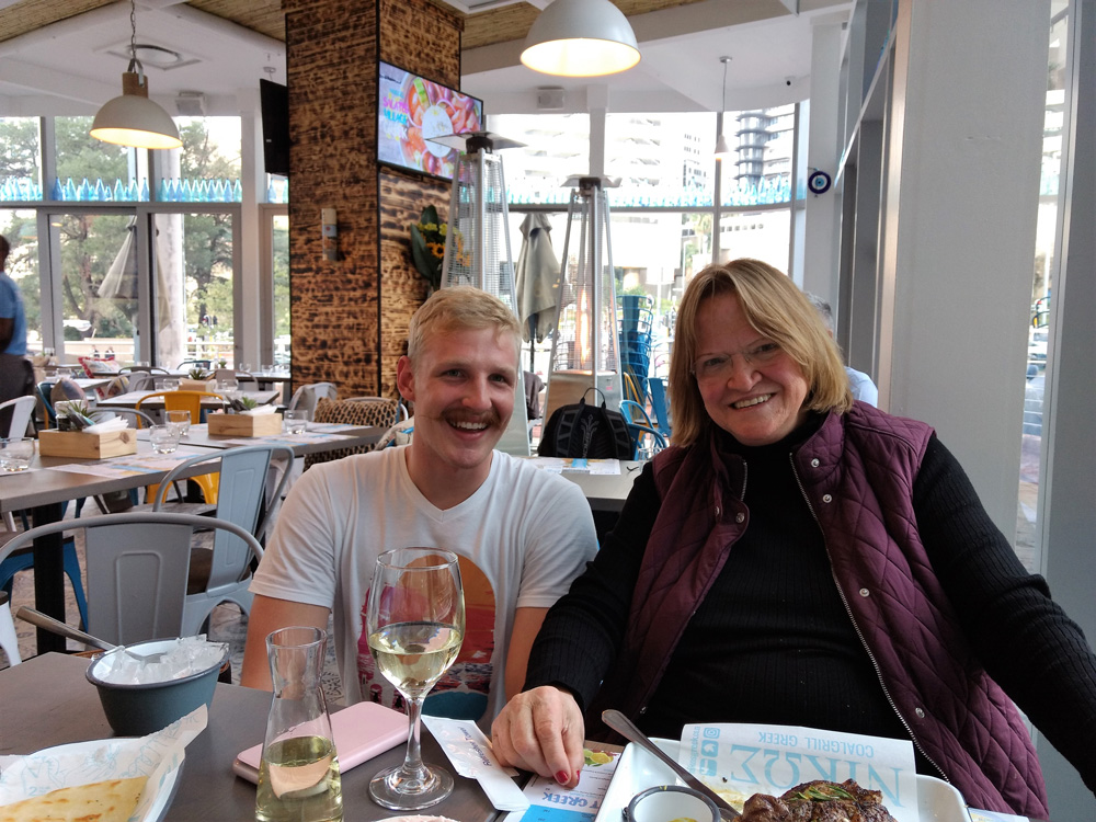 Out to dinner with Amerille Vermooten-Voster. Here she is pictured with a local waiter.