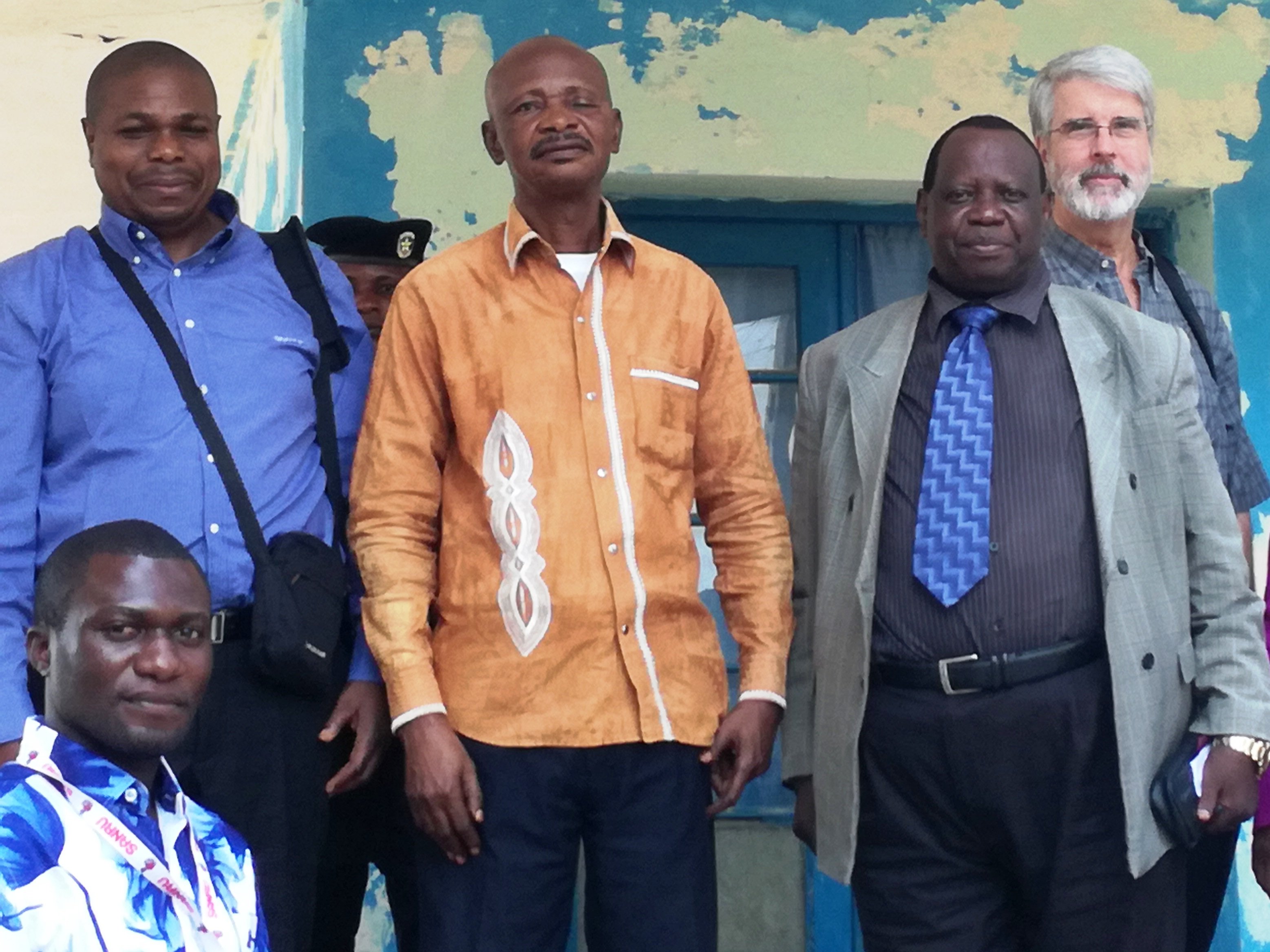 ASSP Technical Director Dr. Bernard Ngoy on the left (blue shirt) with the government administrator of the Ilebo Territory, Dr. Pierre Sambu from the Ministry of Health and Dr. Larry Sthreshley.
