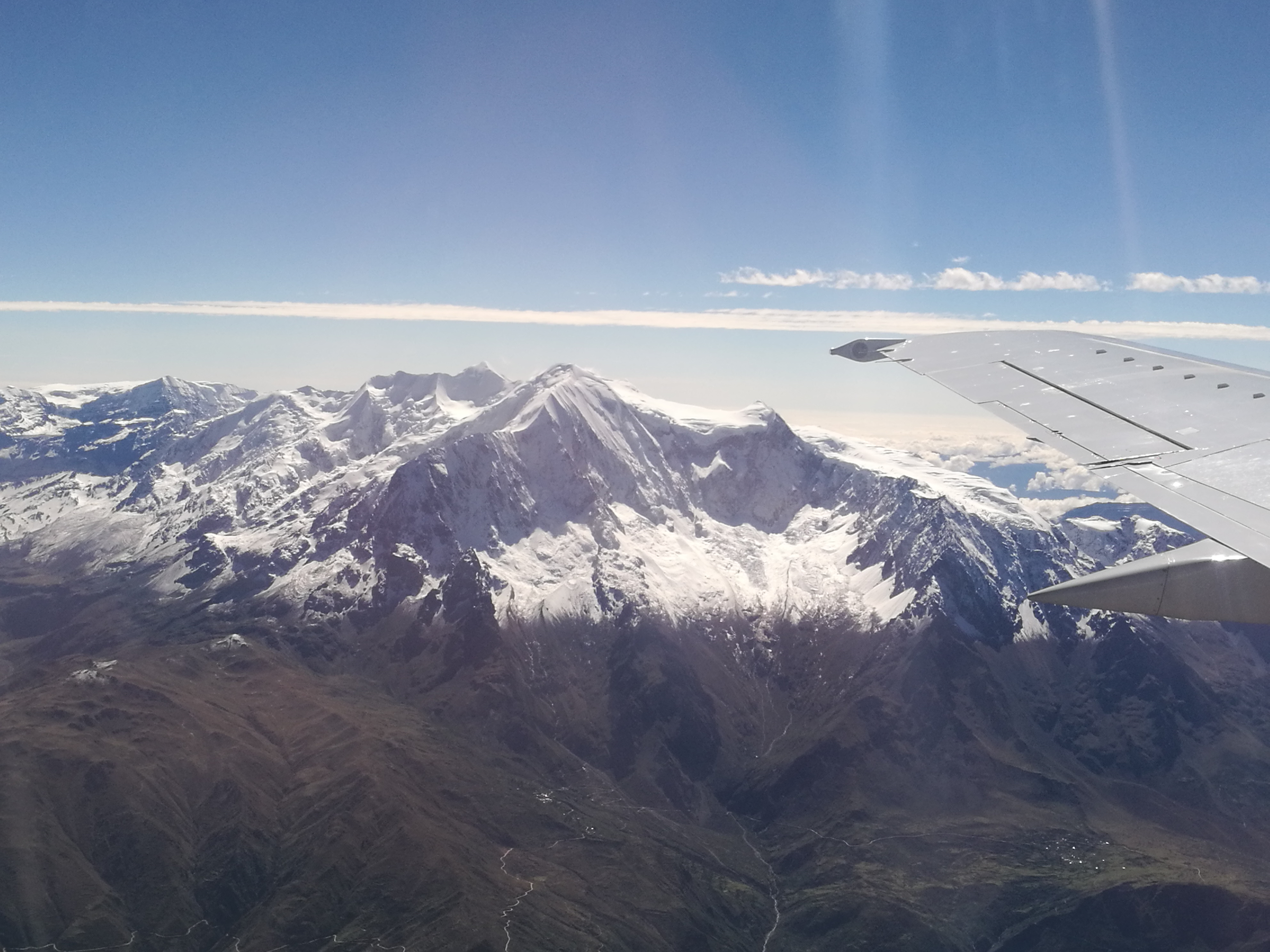 Recently fallen (and needed!) snow adorns the Bolivian Andean mountains.
