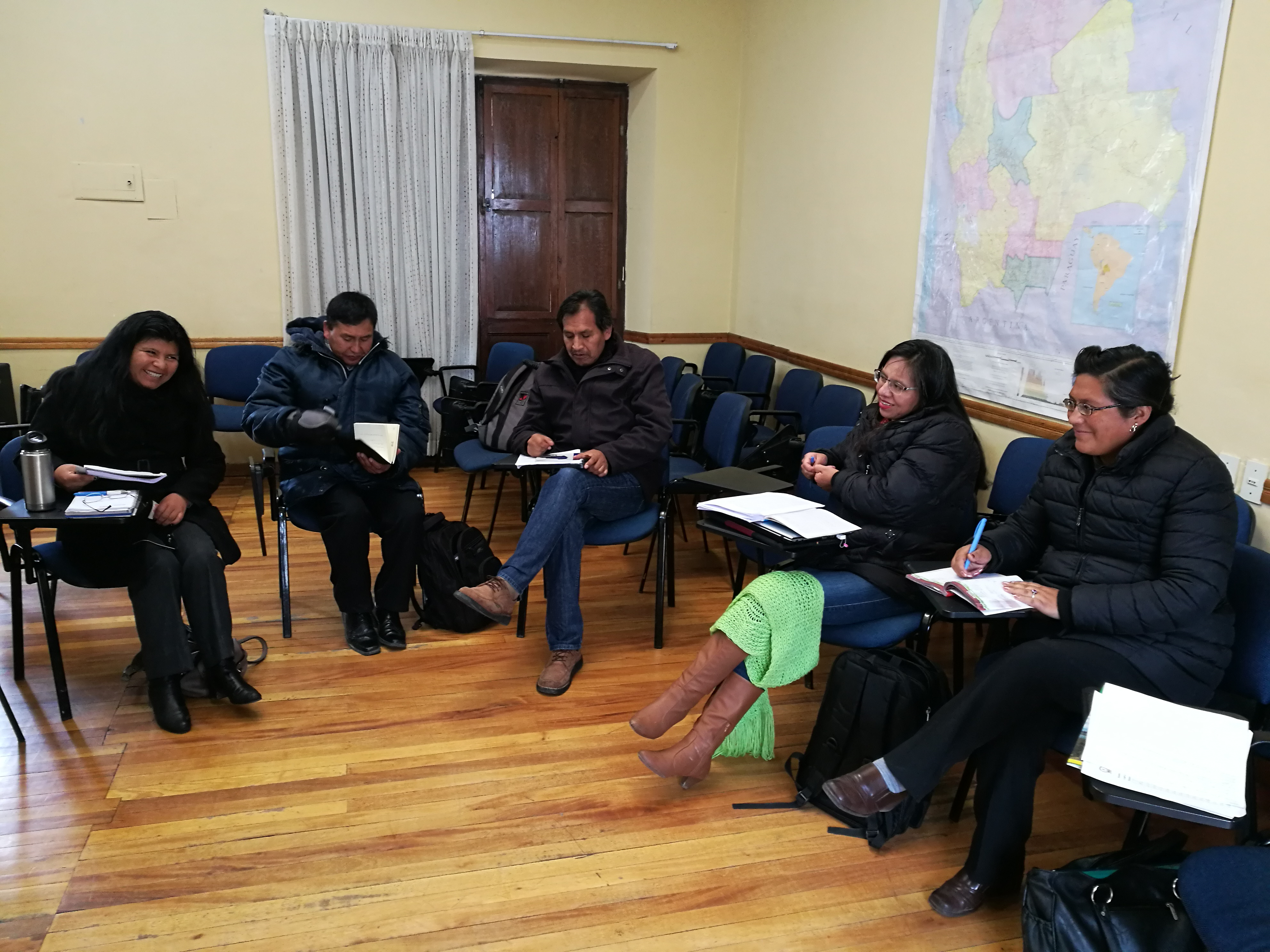 Members of UMAVIDA, the Bolivian Joining Hands network, meet to discuss and plan the network bi-laws and environmental campaign. La Paz, Bolivia