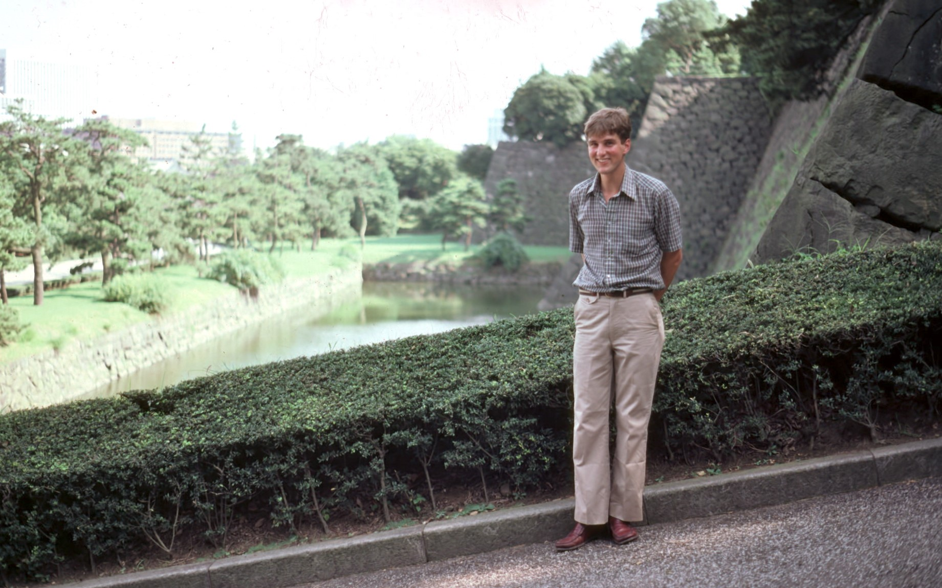 In front of the Imperial Palace. Tokyo, 1982.