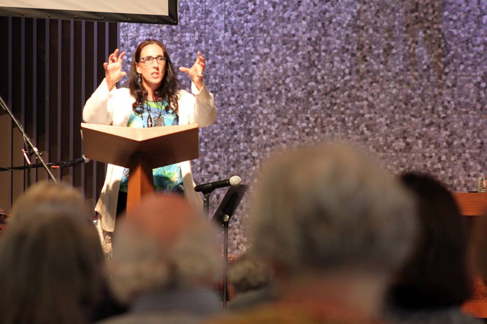 Tracey speaking at a Synod of the Pacific event on migration in early November.