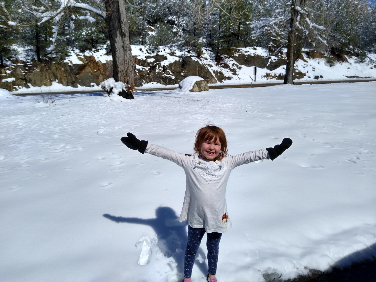 Our granddaughter, Liliana, makes a snow angel.