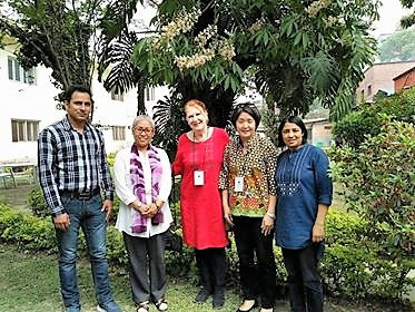 Cathy and Marlene with staff of United Mission to Nepal.