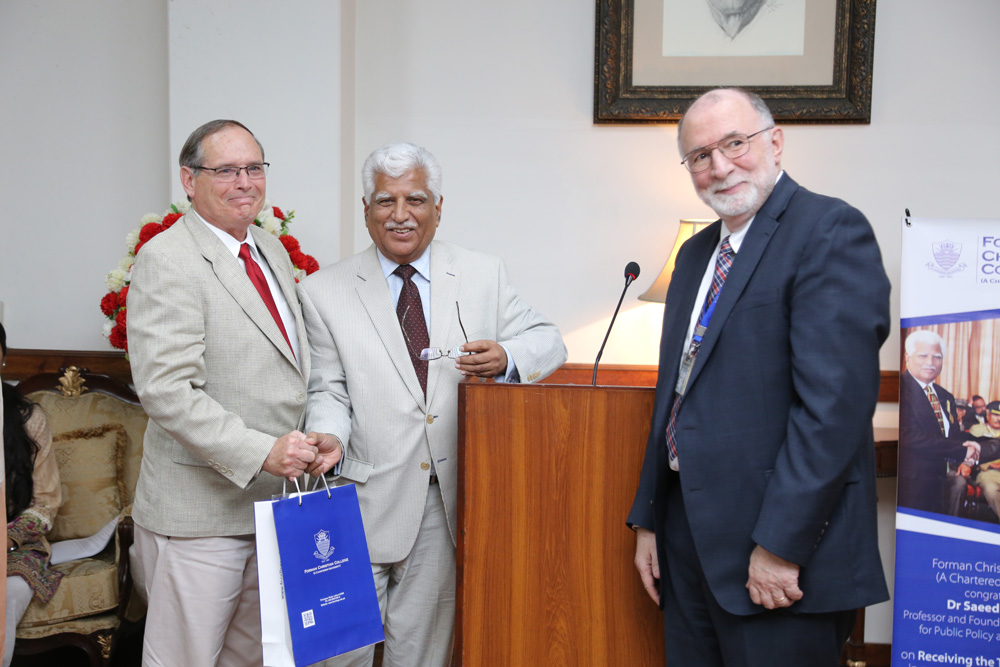 Forman Christian University: Gary, Professor Saeed Shafqat, President Jim Tebbe (photo courtesy of Forman archives).