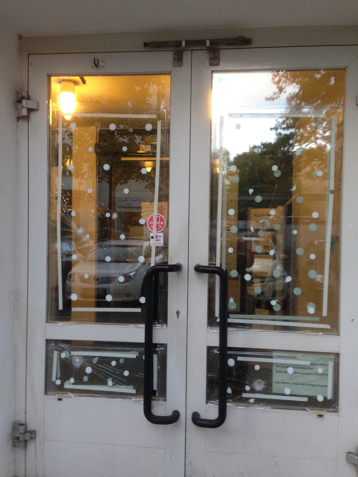 Front doors to the building where Ryan's Farsi class and integration classes for migrants are held. They were broken following the election when the far right political group gained more power.