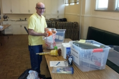 "Old First Presbyterian Church in San Francisco - congregation collecting and assembling ""welcome kits"" for newly arrived refugee families."