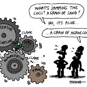 Drawing of plant growing with the cogs of industrial food system