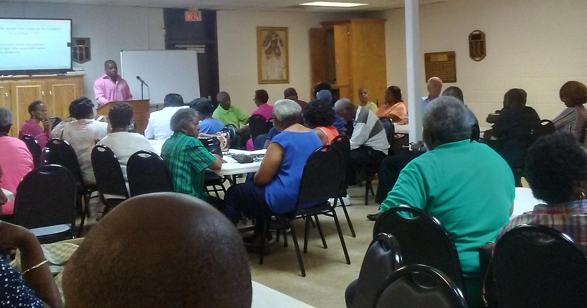 community organizing meeting at church