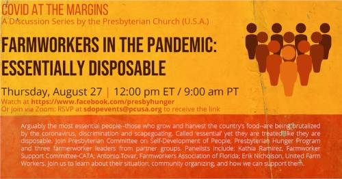 graphic with farmworker webinar info