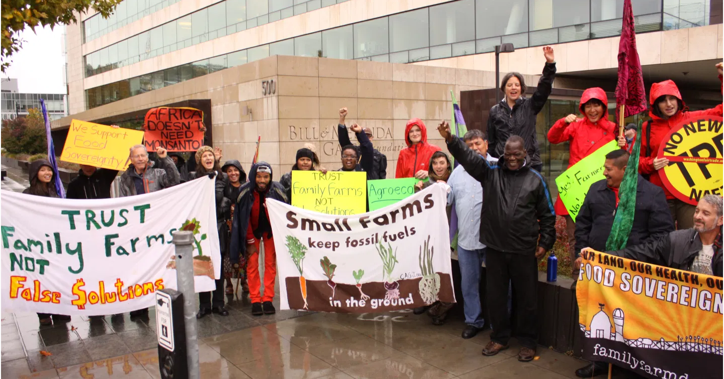 protest at Gates Foundation