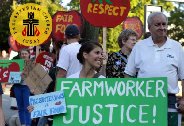 Presbyterian woman holds farmworker justice sign at protest