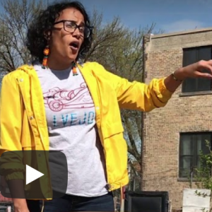 Vivi Moreno explains community garden