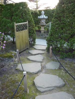 A path of stepping stones winds through the Japanese Garden at the Chicago Botanic Garden