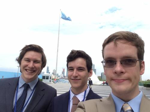 Benjamin Jacuk and Nick Gallagher with Matt Cowell who took them on an introductory walk through of the UN grounds. (Photo by Matt Cowell)
