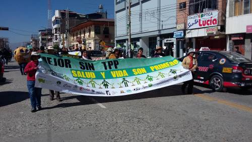 Residents of La Oroya, Peru protest the possible ratification of the TPP.