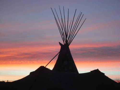 Teepee at the Oceti Sakowin Camp, Standing Rock, ND. Photo Credit: Ellie Stock