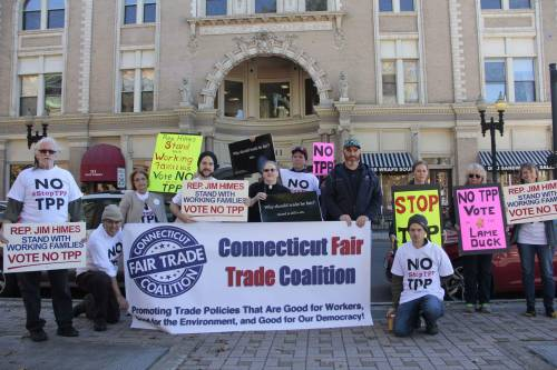 Rally in front of Rep. Jim Himes' office. Photo Credit: Doug Sutherland of Connecticut Fair Trade Coalition.