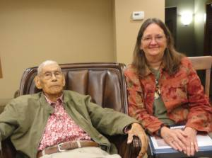 Rev. Ellie Stock visiting with Rev. Sidney Bird in 2015. Photo courtesy of Rev. Ellie Stock