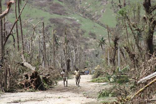 Two residents of the Grand Anse department of Haiti walk along a muddy road, framed by the devastation of trees and vegetation destroyed by Hurricane Matthew on Oct. 4, 2016.