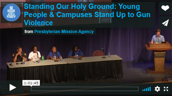 Young panelists at campus discussion about gun violence