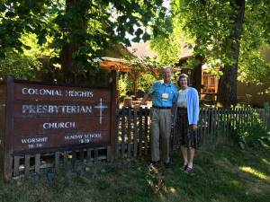 Dick and Christine Gibson in front of PC(USA) Earth Care Congregation Colonial Heights