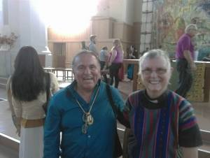 Holly Hallman with House of Tears carver Jewell James, part of the Lummi Totem Pole Journey (August-September 2016)