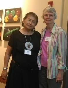 Holly Hallman with Lorintha Umtuck at conference on oil and coal trains and native lands, May 2015