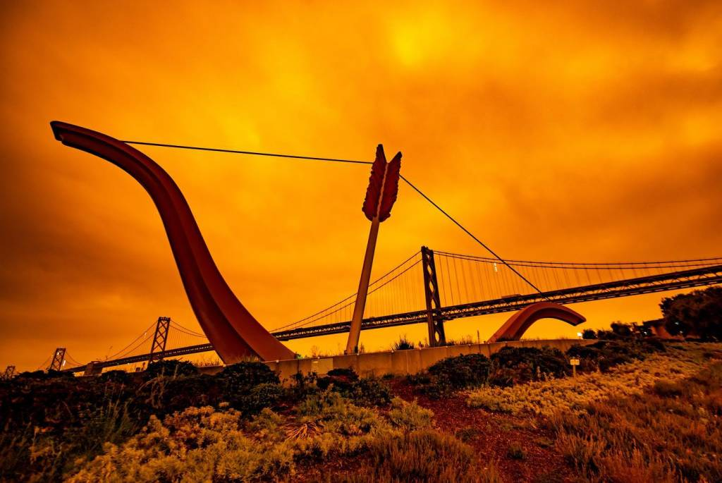 Golden Gate Park with orange sky background
