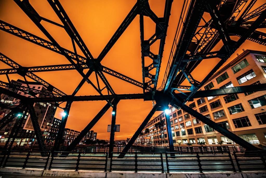 Orange sky background to bridge