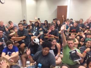 Triennium youth talk EJ hands up