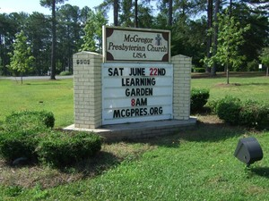 McGregor Learinng Garden church sign
