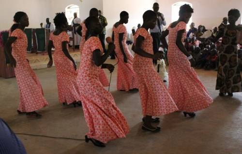 Youth singing and dancing at a Christmas service in Yei, South Sudan
