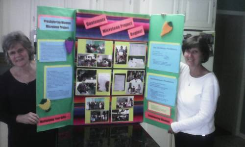 Mimi Michalesand Sandi- At the PW gathering of West. North Carolina. With two new microcredit loan groups for women in two PW groups in Suchi & Sur Occidente in Guatemala. Prayer partners between NC and Guatemala for each women receiving a micro loan are being created.