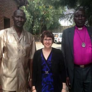 (l-to-r) The Rev. Philip Obang, General Secretary of the South Sudan Presbyterian Evangelical Church; Debbie Braaksma, PC(USA) World Mission Africa area coordinator; and the Rev. James Par Tap, South Sudan Presbyterian Evangelical Church Moderator. (Photo provided)