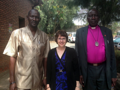 (l-to-r) The Rev. Tut Koney, South Sudan Presbyterian Evangelical Church; The Rev. Debbie Braaksma, PC(USA) World Mission Africa area coordinator; and the Rev. Peter Gai, Moderator of the Presbyterian Church of South Sudan/Chair of South Sudan Council of Churches. (Photo provided)