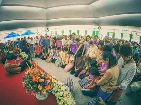 Young people of First Church Chiang Mai being dedicated by church elders for full-time ministry