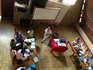 """Looking down on the 3rd year students — Theological Education Class, Cobán"""