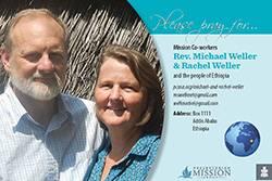 Rev. Michael Weller and Rachel Weller Prayer Card