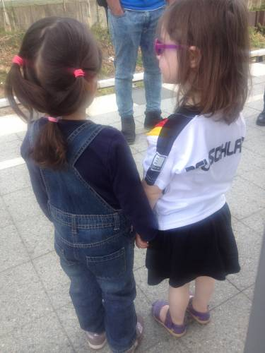 Ariella and a friend from the Iranian church waiting for the Wannsee ferry